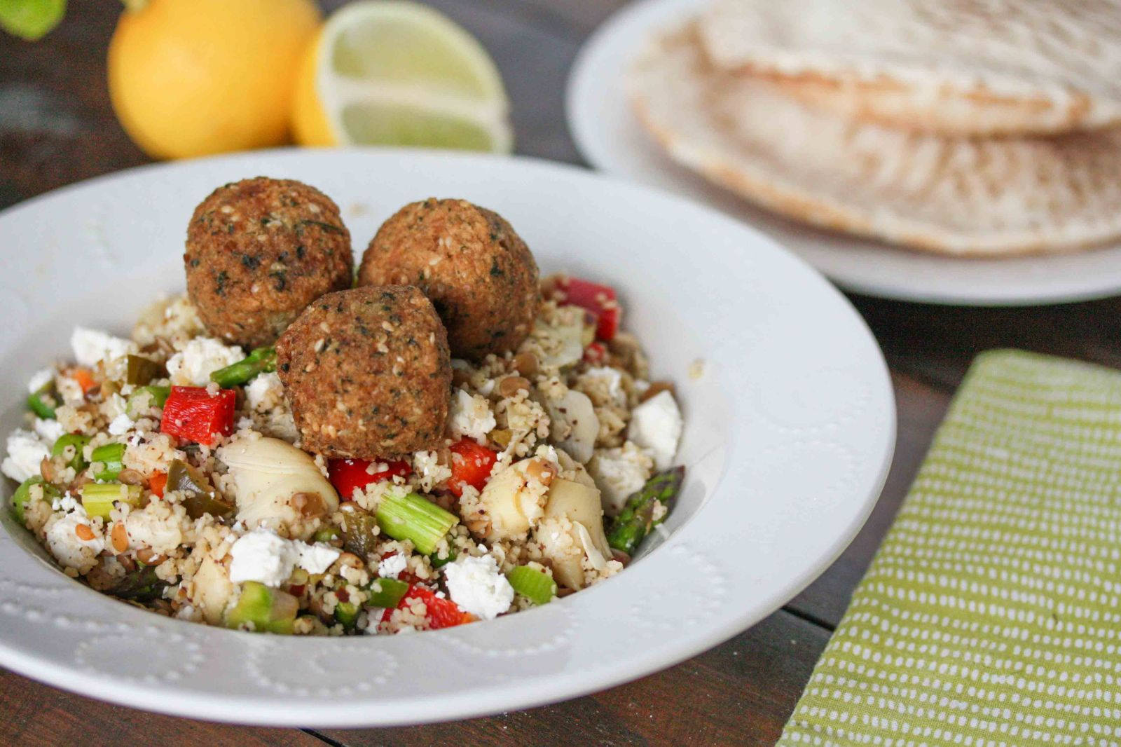 Asparagus and artichoke cous cous salad with falafel